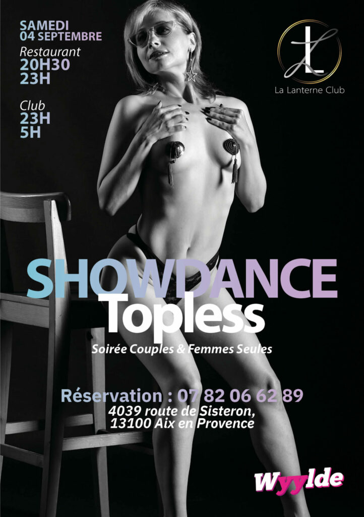 """4 Septembre 2021 : """"Showdance Topless"""" (Soirée couples et femmes seules) [20h30/05h]"""